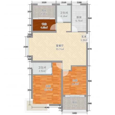 天颐郦城三期时光里3室2厅2卫1厨115.00㎡户型图