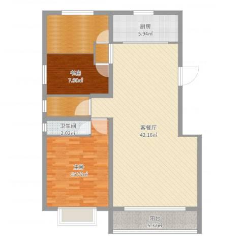 迁安市晨曦家园2室2厅1卫1厨113.00㎡户型图