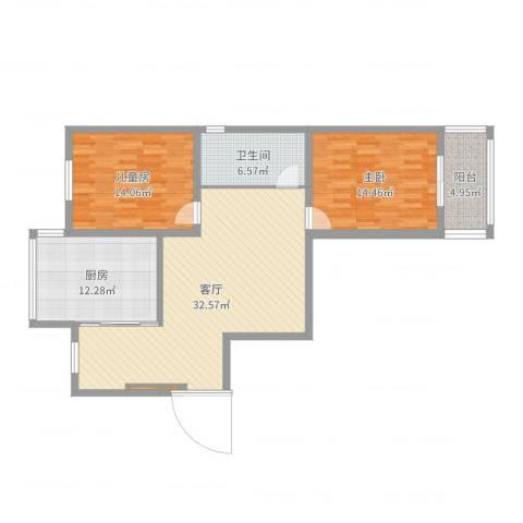 中江国际花苑2室1厅1卫1厨110.00㎡户型图