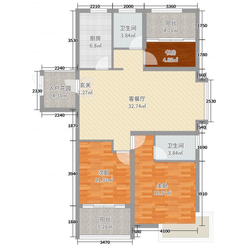 天颐郦城三期时光里117.63㎡19#C户型3室3厅1卫1厨