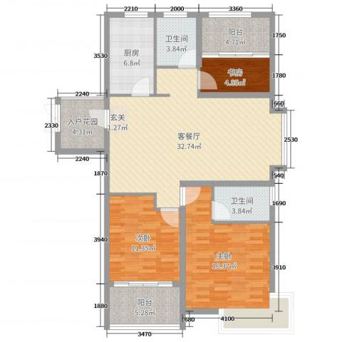天颐郦城三期时光里3室2厅2卫1厨118.00㎡户型图
