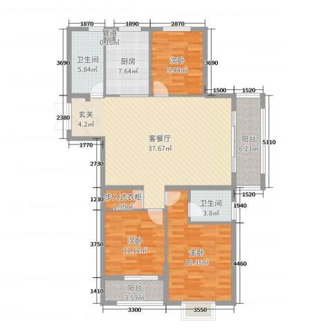 郁金蓝湾3室2厅2卫1厨130.00㎡户型图