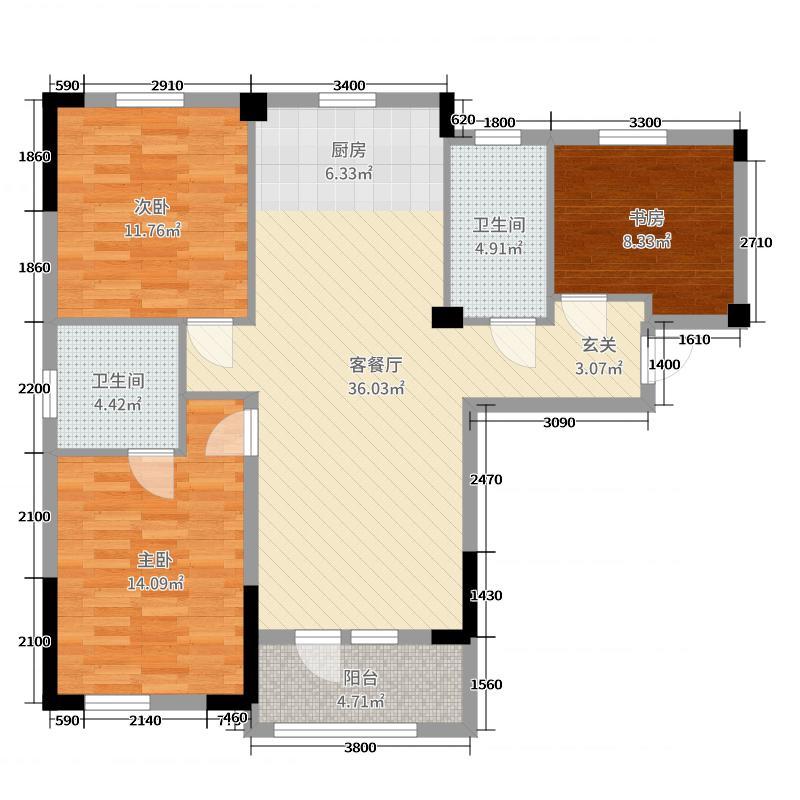 远洋世界三期水岸一方106.48㎡1、2号楼C1户型3室3厅2卫1厨