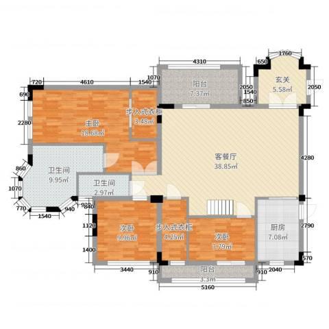 万科紫台3室2厅2卫1厨148.00㎡户型图
