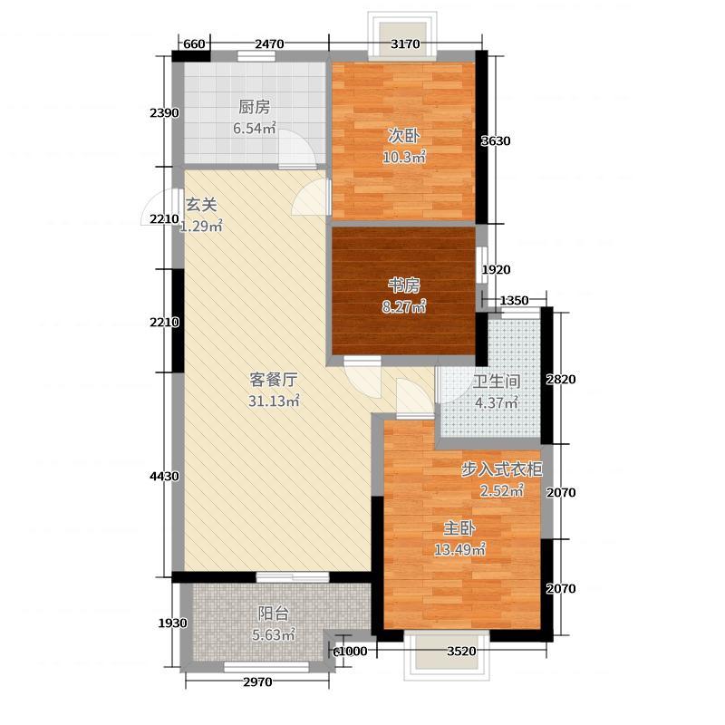 东方龙城木兰苑99.80㎡4#楼C2户型3室3厅1卫1厨