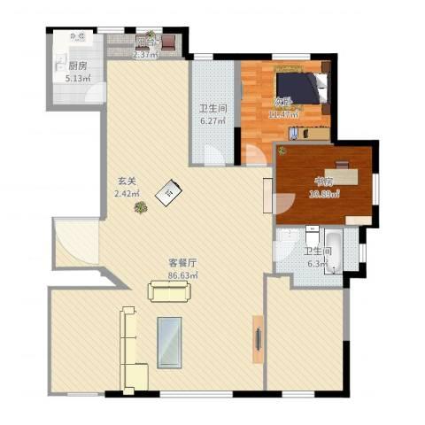 水榭花都2室2厅2卫1厨161.00㎡户型图