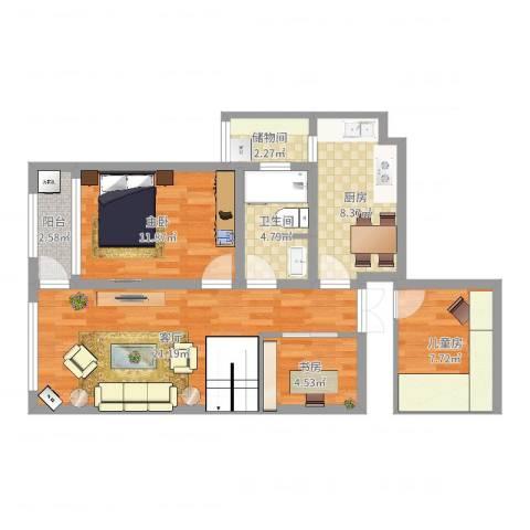 东方新天地3幢1208室3室1厅1卫1厨79.00㎡户型图