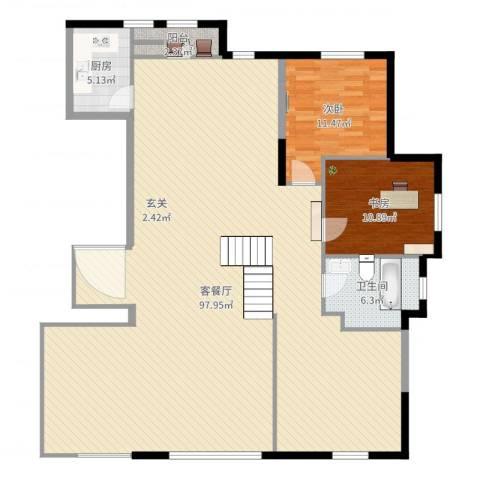 水榭花都2室2厅1卫1厨168.00㎡户型图
