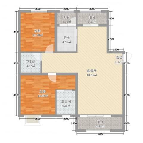 宏润翠湖天地2室2厅2卫1厨141.00㎡户型图