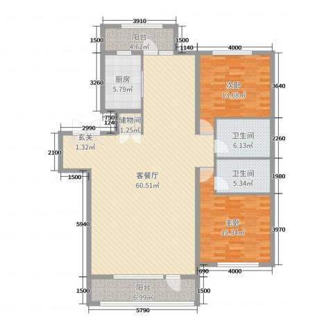 宏润翠湖天地2室2厅2卫1厨150.00㎡户型图