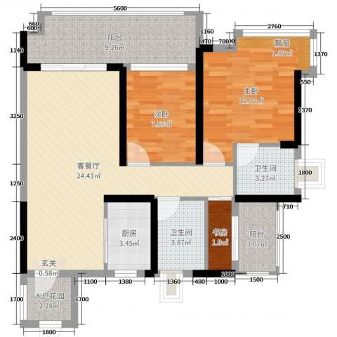 博达汇峰3室2厅2卫1厨92.00㎡户型图