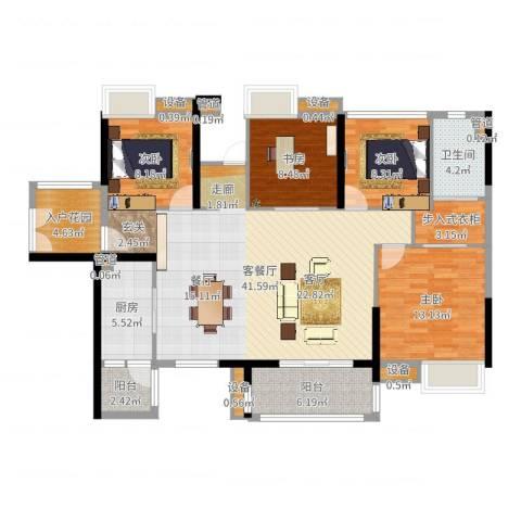 湘域中央花园4室2厅1卫1厨135.00㎡户型图