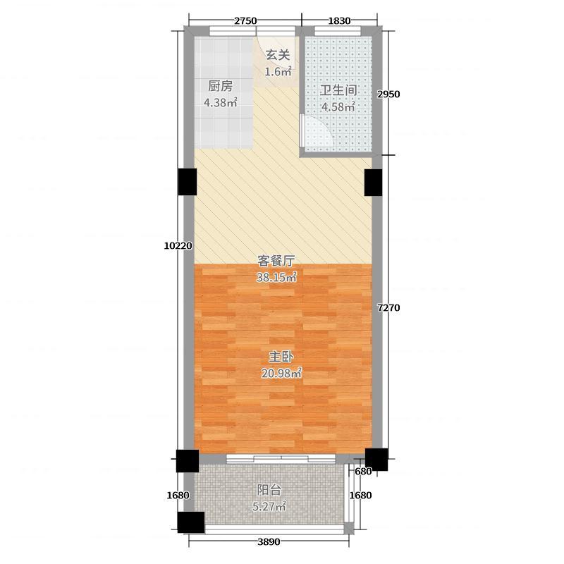 郁金蓝湾60.00㎡1号楼2号楼单身公寓01户型1室1厅1卫1厨