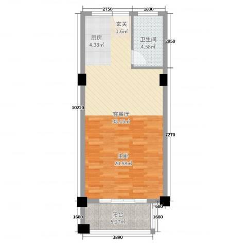 郁金蓝湾2厅1卫0厨60.00㎡户型图