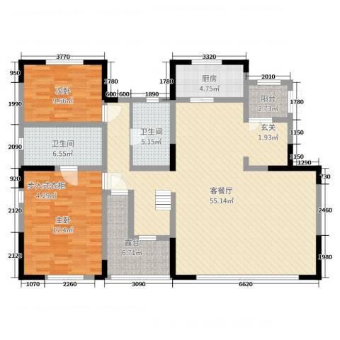 泰禾厦门院子2室2厅2卫1厨270.00㎡户型图