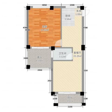 郁金蓝湾1室2厅1卫0厨69.00㎡户型图
