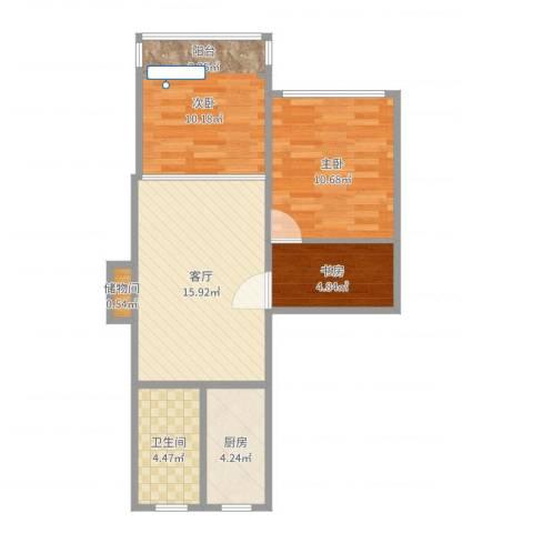 紫叶小区3室1厅1卫1厨71.00㎡户型图