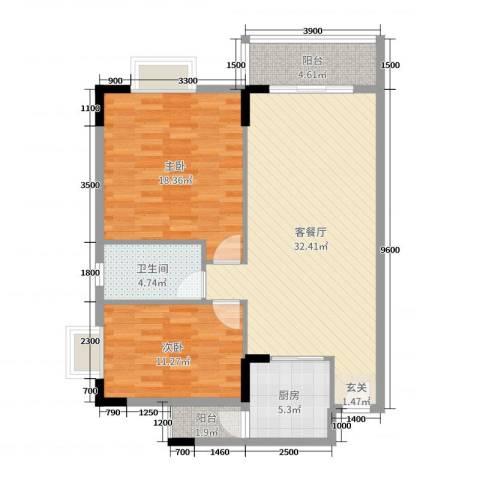 倚绿山庄・尚院2室2厅1卫1厨96.00㎡户型图