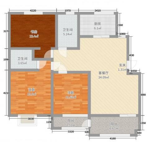 紫荆花园3室2厅2卫1厨99.00㎡户型图