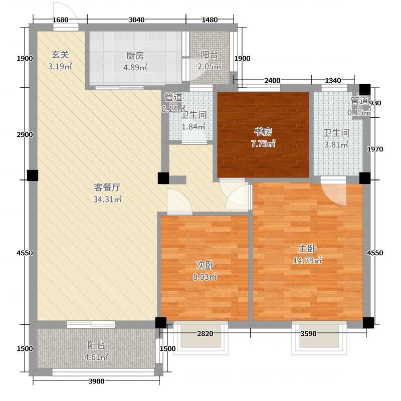 玉林碧桂园115.00㎡YJ115户型3室3厅2卫1厨