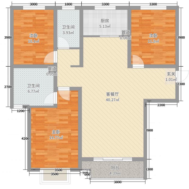 翡翠家园136.82㎡一号楼A户型3室3厅2卫1厨