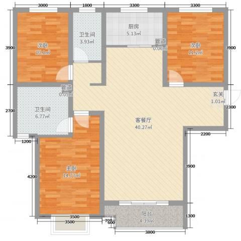 翡翠家园3室2厅2卫1厨137.00㎡户型图