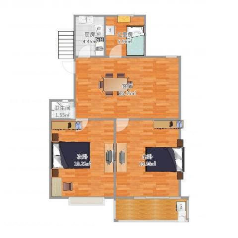 育秀九区3室1厅1卫1厨102.00㎡户型图