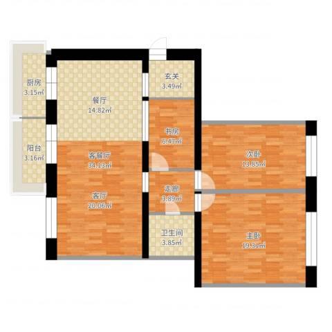 农林小区3室2厅1卫1厨114.00㎡户型图
