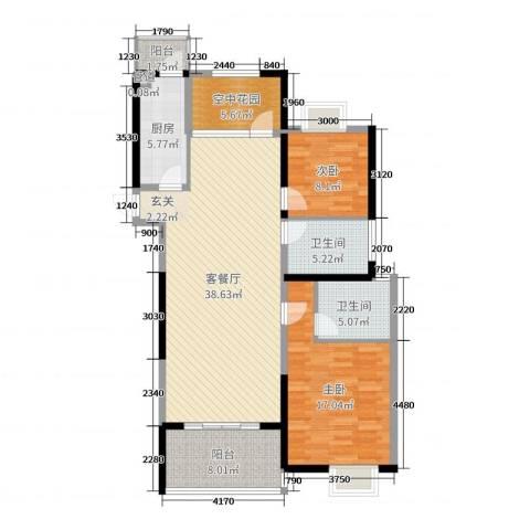 四季金辉2室2厅2卫1厨119.00㎡户型图