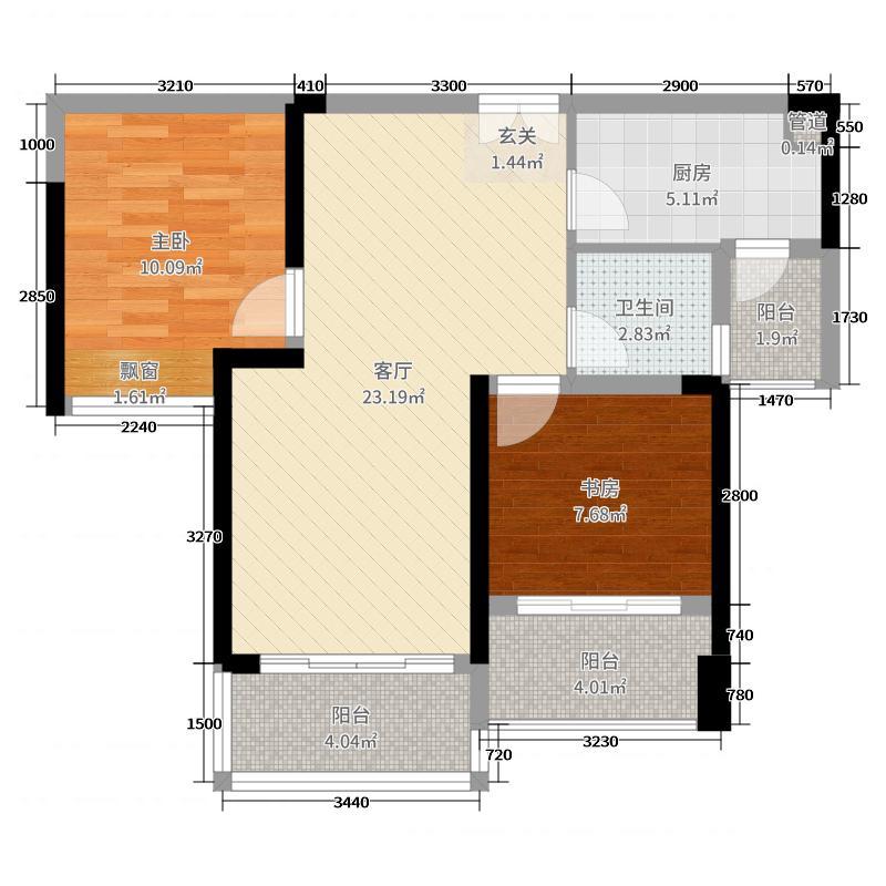 深业泰然观澜玫瑰轩73.00㎡A座2单元07户型2室2厅1卫1厨