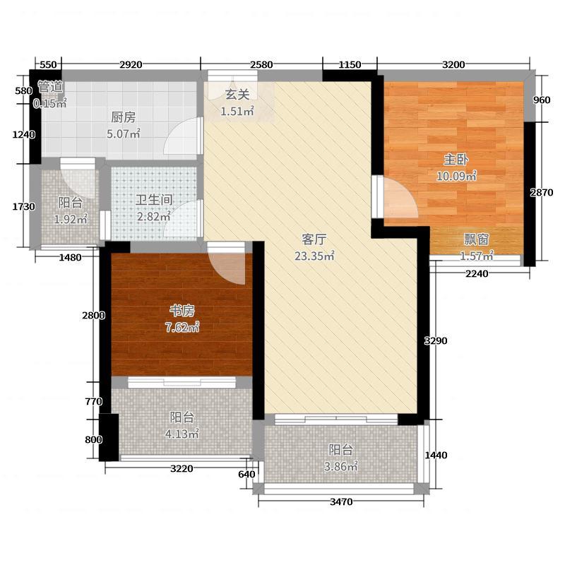 深业泰然观澜玫瑰轩73.00㎡A座2单元06户型2室2厅1卫1厨