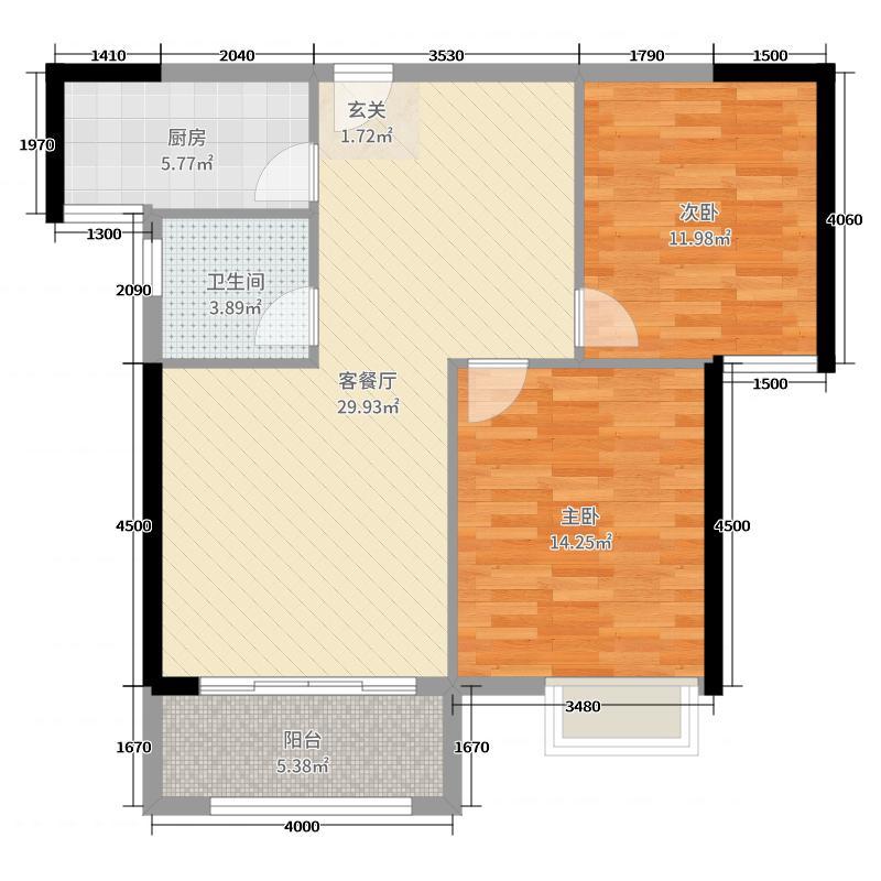 汇龙大江盛世89.00㎡C区8#楼02/05户型2室2厅1卫1厨