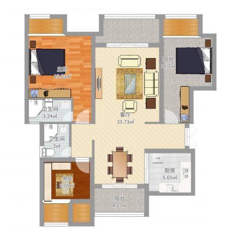 保利紫荆公馆2室1厅2卫1厨117.00㎡户型图