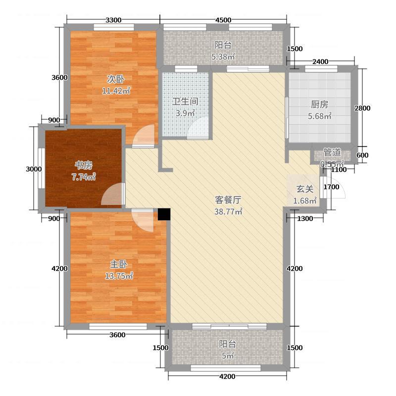 易和熙园105.01㎡6、8号楼D3户型3室3厅1卫1厨