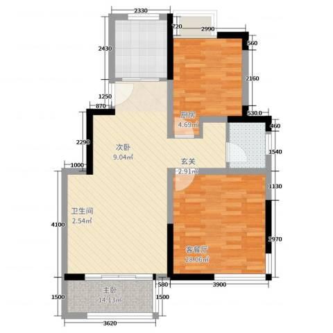 和安家园2室2厅1卫1厨89.00㎡户型图