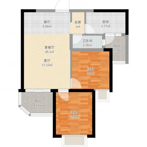 沧州恒大城2室2厅1卫1厨77.00㎡户型图