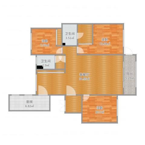 金域蓝湾3室2厅2卫1厨116.00㎡户型图