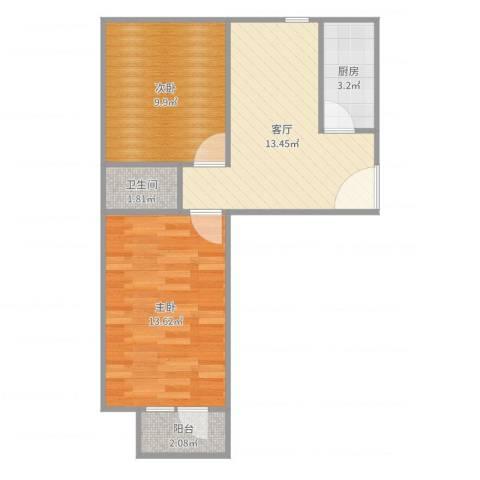 小红庙2室1厅1卫1厨55.00㎡户型图