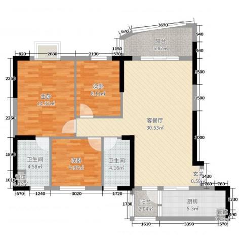 碧桂园・公园1号3室2厅2卫1厨92.00㎡户型图