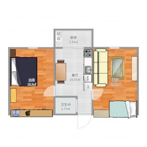 莲花池南里1室2厅1卫1厨58.00㎡户型图