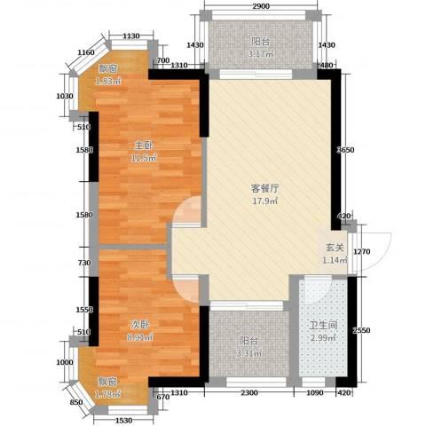 碧桂园・公园1号2室2厅1卫0厨60.00㎡户型图
