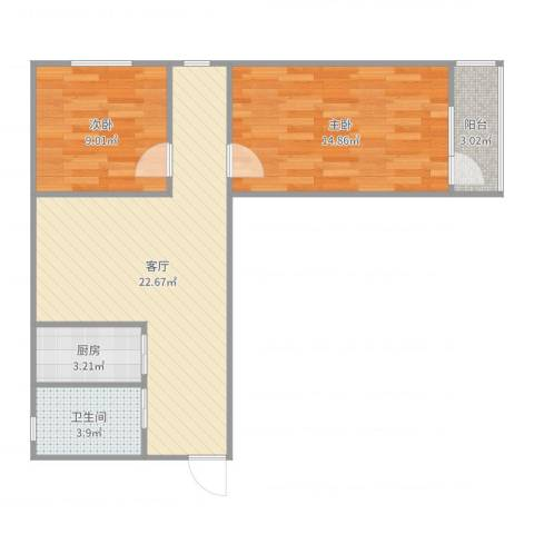 八角北里2室1厅1卫1厨71.00㎡户型图