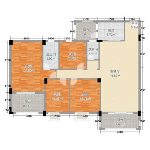 丽景华庭4室2厅2卫1厨161.00㎡户型图