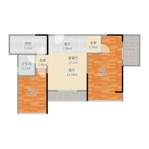 晶地可乐2室2厅1卫1厨107.00㎡户型图