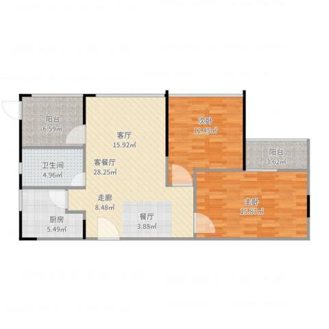 晶地可乐2室2厅1卫1厨104.00㎡户型图