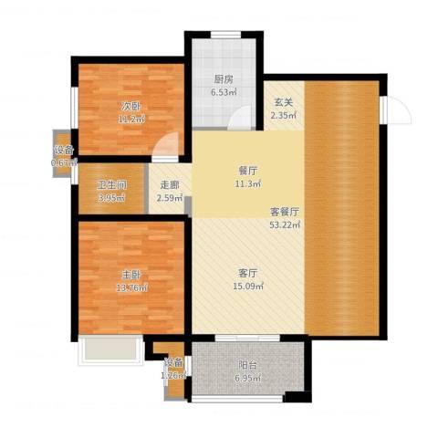 徐州华润绿地・凯旋门2室2厅1卫1厨122.00㎡户型图
