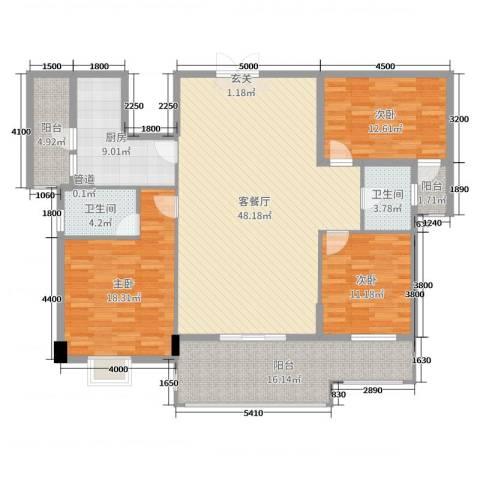 水口雅乐苑3室2厅2卫1厨170.00㎡户型图