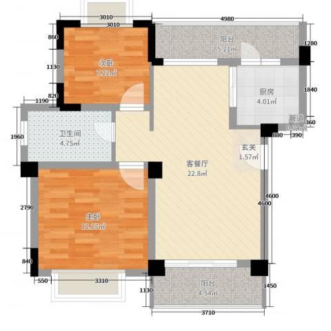 天雨一号2室2厅1卫1厨60.82㎡户型图