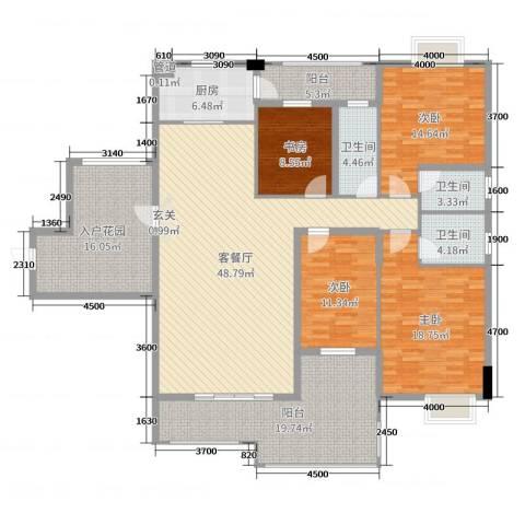 水口雅乐苑4室2厅3卫1厨184.00㎡户型图