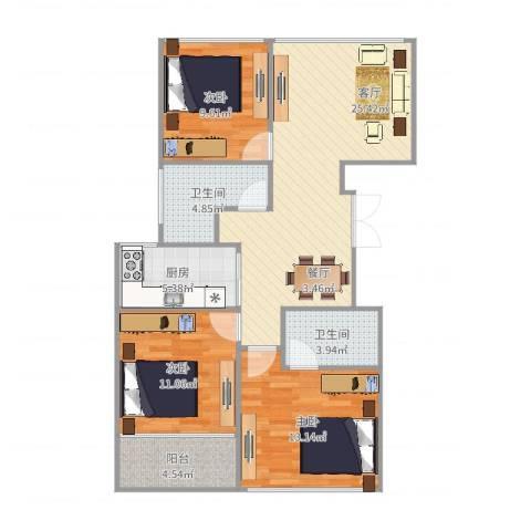 红苹果3室1厅2卫1厨97.00㎡户型图